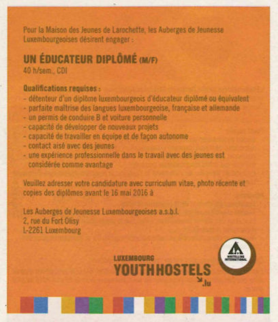 Our youth hostels are recruiting