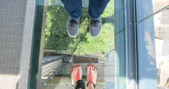 A glass floor serves as a reminder of just how far up you are