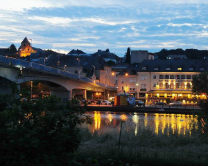 Mosel river bridge at Remich Luxemburg by night, as seen from the German side - panoramio