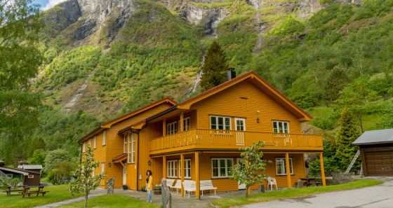 The hostel is located at the end of Norway's longest fjord, the Sognefjord.
