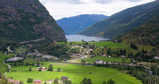 The village of Flåm, located in Aurland commune has since the late 19th century been a tourist destination.